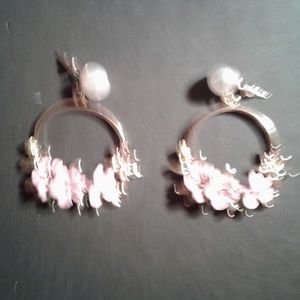 Pink and white flower earrings